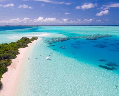 Le Maldive in barca mare
