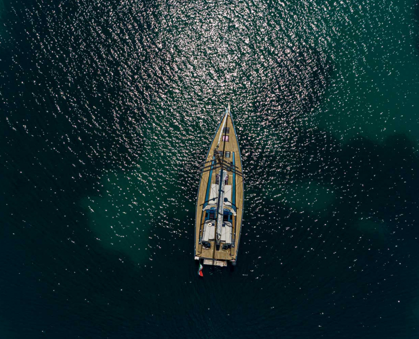 drone view boat